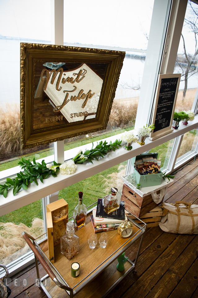 Logo mirror sign from Mint Julep, Historic Events Wedding and Event Planning. Kent Island Maryland Chesapeake Bay Beach Club Bow Ties and Bubbly wedding show photos at the Tavern Bayside, by wedding photographers of Leo Dj Photography. http://leodjphoto.com