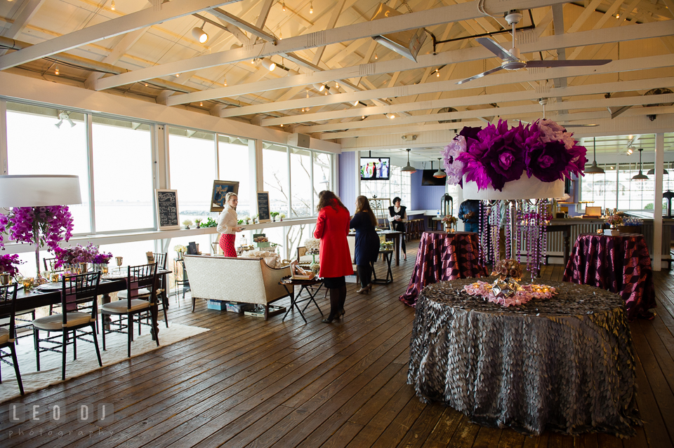 View of the bar side of the Tavern Bayside room setup. Kent Island Maryland Chesapeake Bay Beach Club Bow Ties and Bubbly wedding show photos at the Tavern Bayside, by wedding photographers of Leo Dj Photography. http://leodjphoto.com