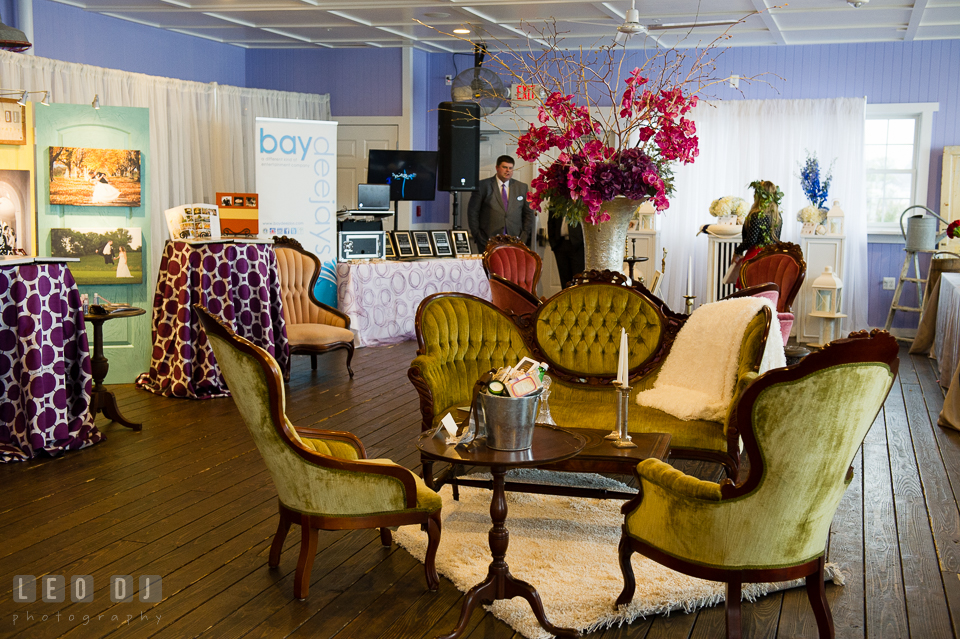 Old yellow couch and chairs from Vintage Affairs. Kent Island Maryland Chesapeake Bay Beach Club Bow Ties and Bubbly wedding show photos at the Tavern Bayside, by wedding photographers of Leo Dj Photography. http://leodjphoto.com