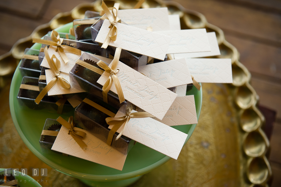 Favors from Mint Julep, Historic Events Wedding and Event Planning. Kent Island Maryland Chesapeake Bay Beach Club Bow Ties and Bubbly wedding show photos at the Tavern Bayside, by wedding photographers of Leo Dj Photography. http://leodjphoto.com