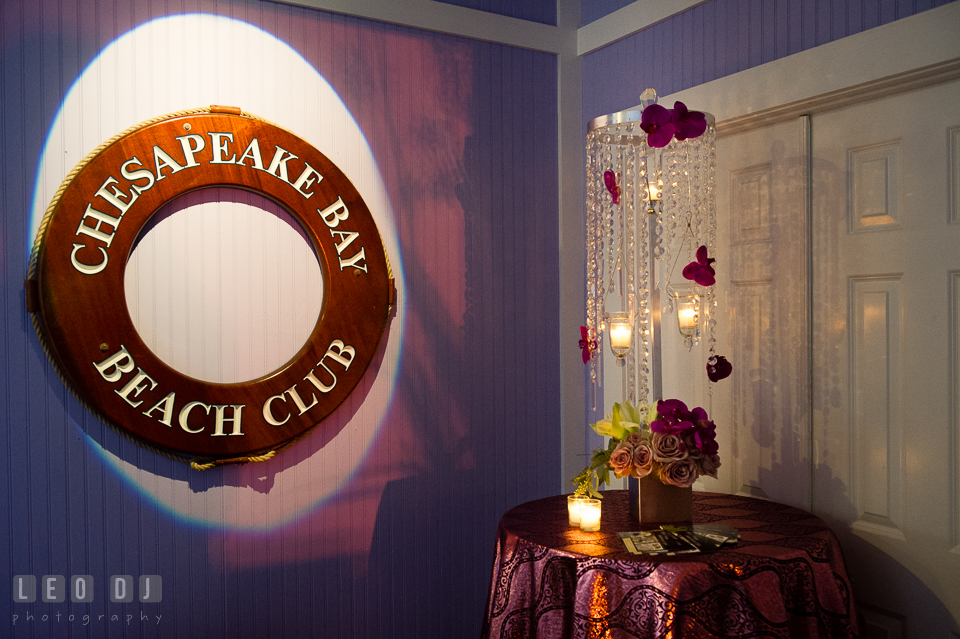 Entrance to Tavern Bayside room decorated with beads and purple flowers. Kent Island Maryland Chesapeake Bay Beach Club Bow Ties and Bubbly wedding show photos at the Tavern Bayside, by wedding photographers of Leo Dj Photography. http://leodjphoto.com