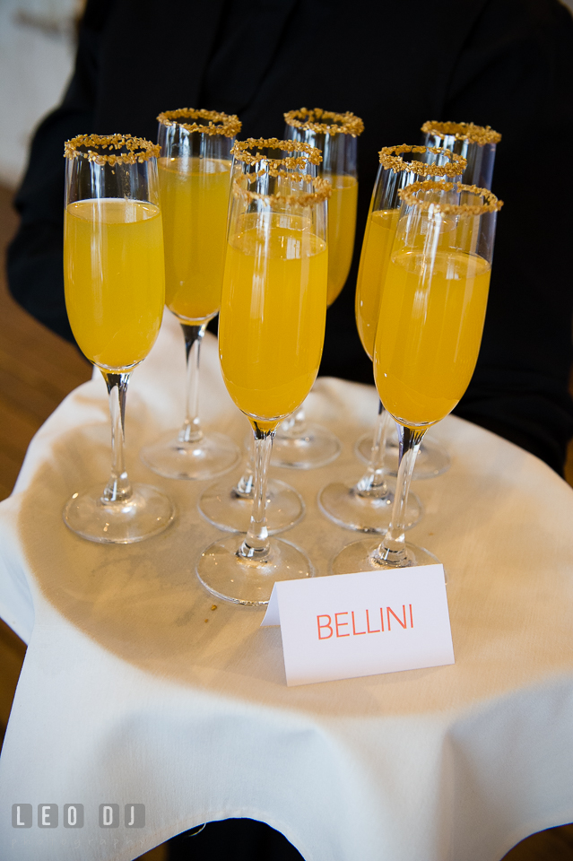 Signature drink Bellini from from CBBC. Kent Island Maryland Chesapeake Bay Beach Club Bow Ties and Bubbly wedding show photos at the Tavern Bayside, by wedding photographers of Leo Dj Photography. http://leodjphoto.com