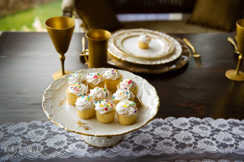 Cupcakes served on old china from Vintage Affairs. Kent Island Maryland Chesapeake Bay Beach Club Bow Ties and Bubbly wedding show photos at the Tavern Bayside, by wedding photographers of Leo Dj Photography. http://leodjphoto.com