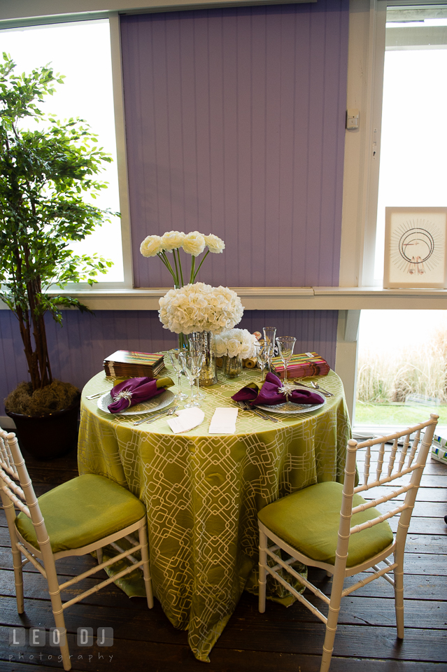 Green table linen setting and chair from Select Event Group. Kent Island Maryland Chesapeake Bay Beach Club Bow Ties and Bubbly wedding show photos at the Tavern Bayside, by wedding photographers of Leo Dj Photography. http://leodjphoto.com