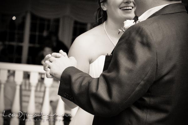 Bride groom dance holding hands. Kent Manor Inn Wedding Photography Kent Island MD Photographer