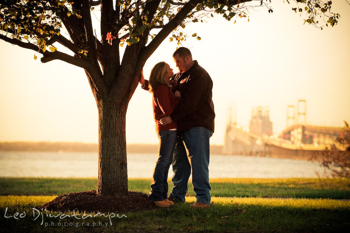 engaged couple by tree, beautiful afternoon light, overlooking at Bay Bridge and Annapolis. Engagement Photographer Matapeake Beach, Chesapeake Bay