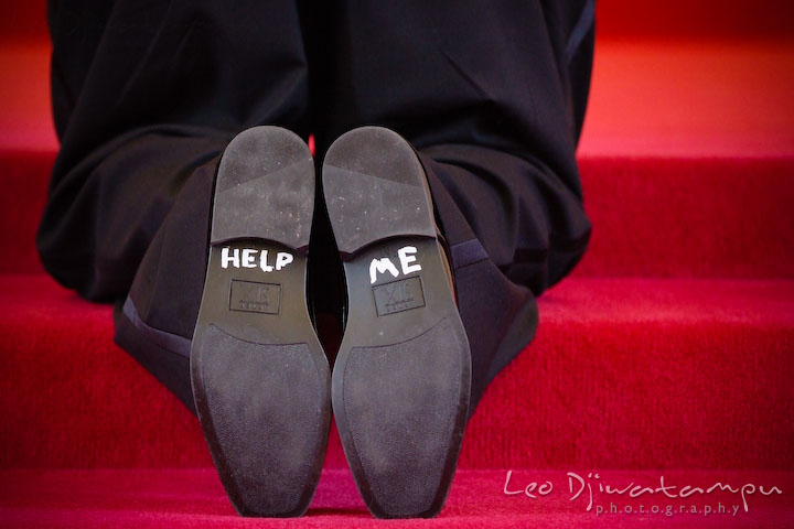 Help me on groom's shoe soles. Kent Island Methodist Church KIUMC Wedding Photographer Maryland