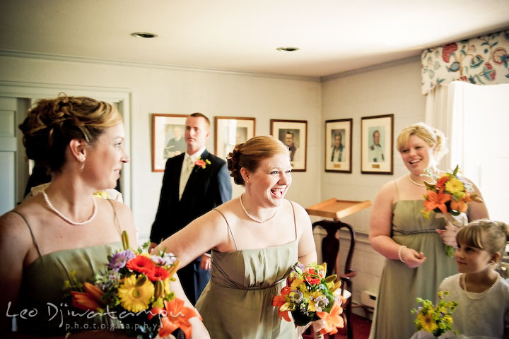 Maid of honor and bridesmaids laughing. Kent Island Methodist Church KIUMC Wedding Photographer Maryland