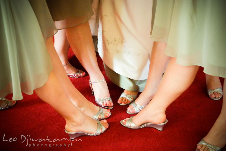 Bride, maid of honor and bridesmaids showing matching silver high heel shoes and legs. Kent Island Methodist Church KIUMC Wedding Photographer Maryland