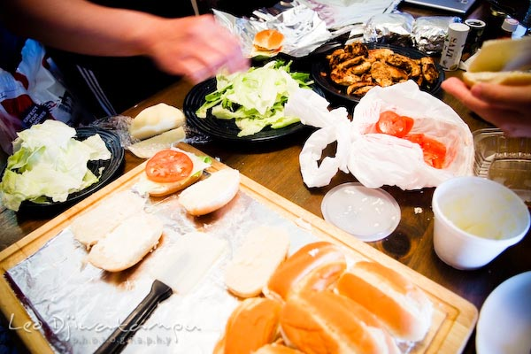 preparing sandwich for lunch