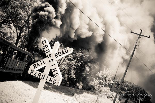 railroad crossing warning sign, train crossing, blowing smoke, cass, west virginia, photography