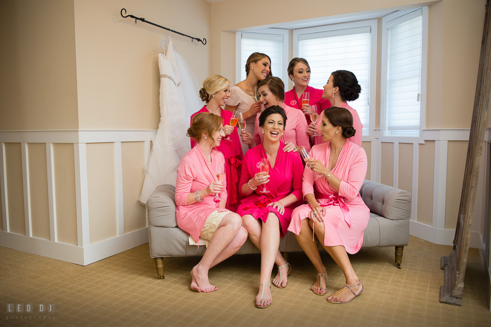 Eastern Shore Maryland Bride with Maid of Honor and Bridesmaids in their robes toasting champagne photo by Leo Dj Photography