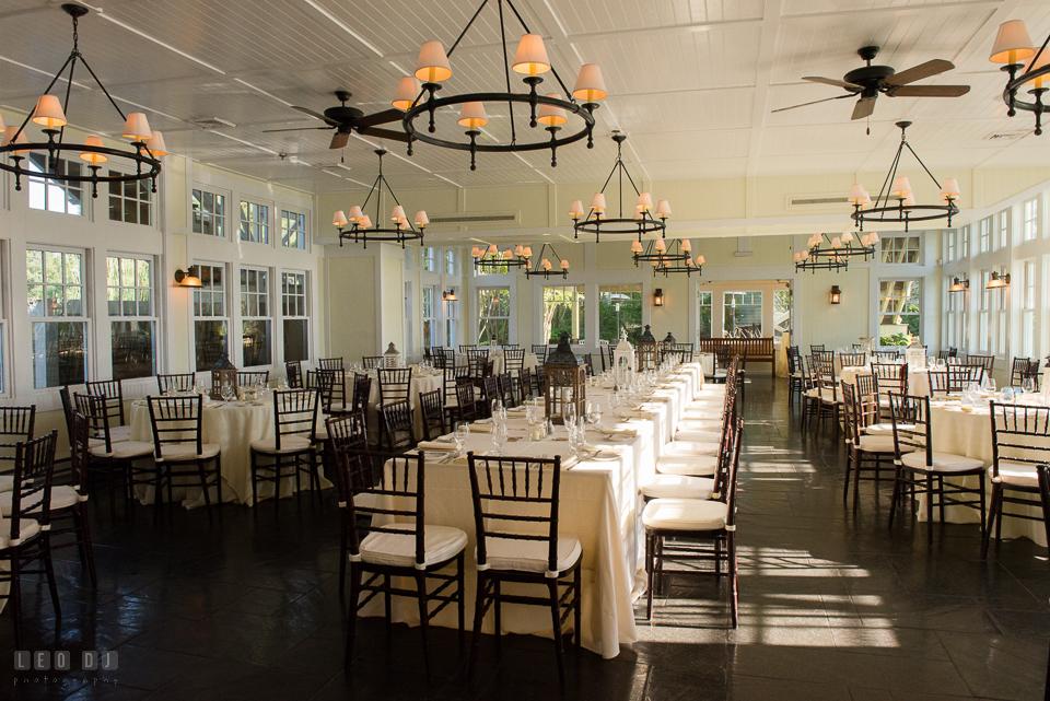 Chesapeake Bay Beach Club Tavern Ballroom with DIY candle lantern decorations photo by Leo Dj Photography