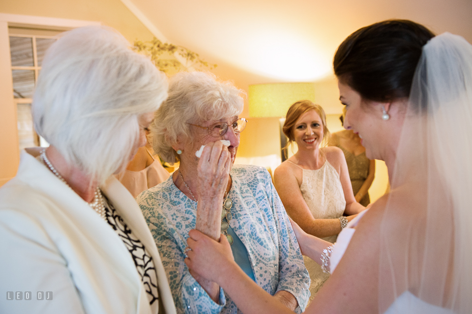 Chesapeake Bay Beach Club Grandmother of the Bride crying seeing granddaughter photo by Leo Dj Photography