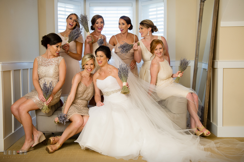 Chesapeake Bay Beach Club Bride with Maid of Honor and Bridesmaids posing and laughing together photo by Leo Dj Photography