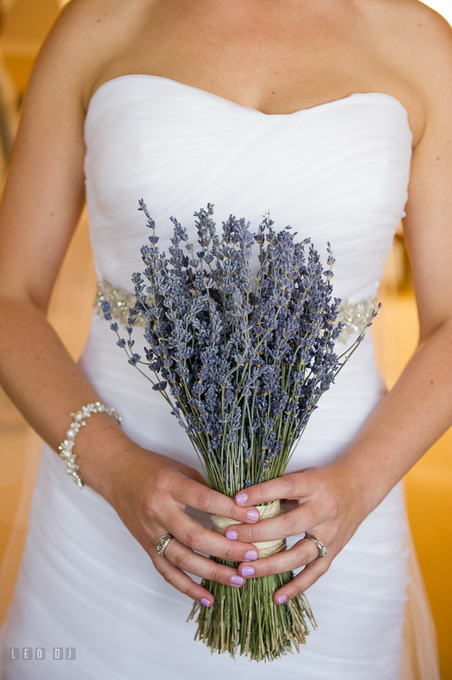 Eastern Shore Maryland Bride holding dried lavender wedding bouquet photo by Leo Dj Photography
