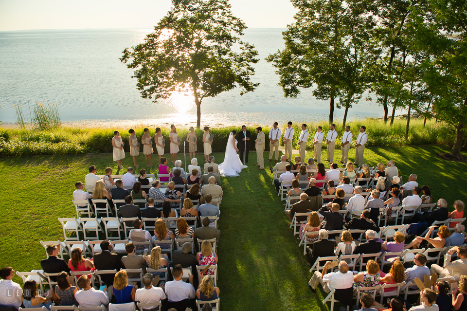 Chesapeake Bay Beach Club lawn ceremony site with waterview of the bay photo by Leo Dj Photography