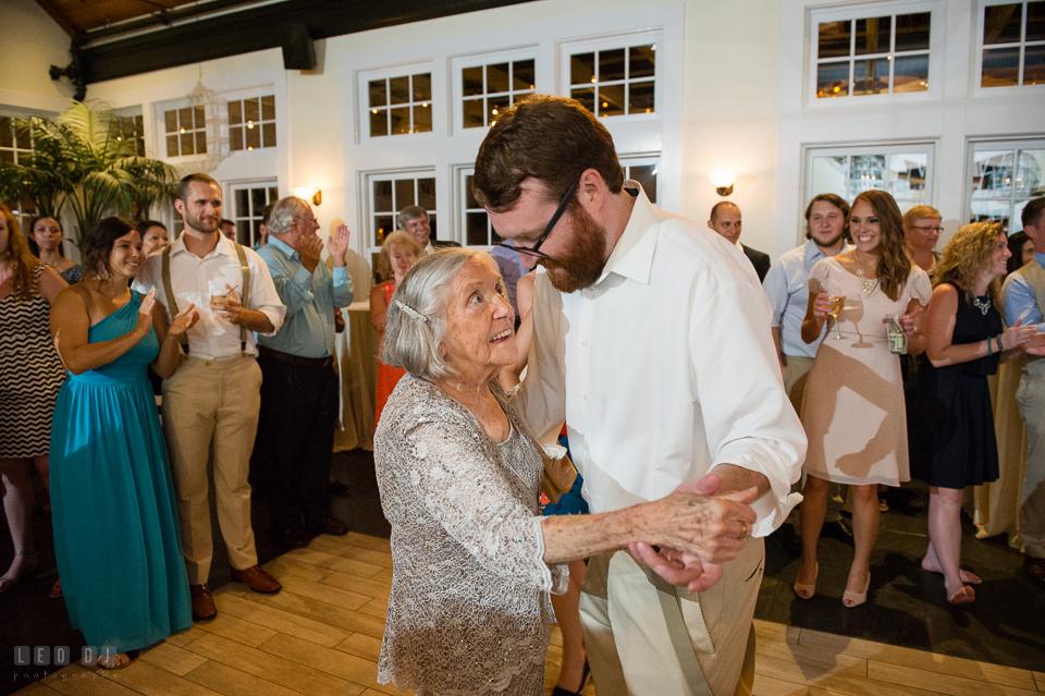 Chesapeake Bay Beach Club Bride Groom dancing with Grandmother photo by Leo Dj Photography