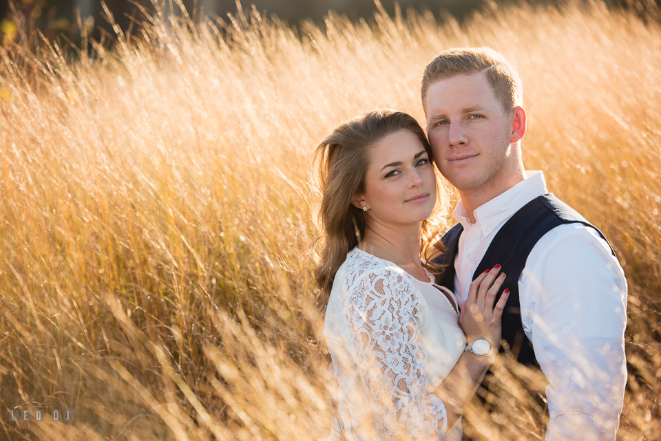Cape Henlopen Lewes Delaware engaged girl posing with her fiance for engagement photo by Leo Dj Photography.