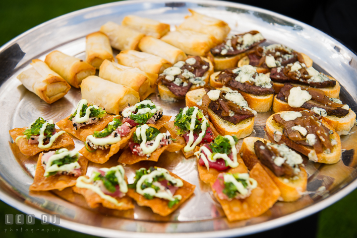 Delicious finger food or hor d'oeuvres during cocktail hour. Kent Island Maryland Chesapeake Bay Beach Club wedding reception party photo, by wedding photographers of Leo Dj Photography. http://leodjphoto.com