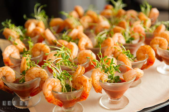 Shrimp cocktail. Kent Island Maryland Chesapeake Bay Beach Club wedding reception party photo, by wedding photographers of Leo Dj Photography. http://leodjphoto.com