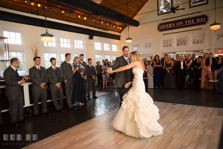 Bride and Groom first dance as husband and wife. Kent Island Maryland Chesapeake Bay Beach Club wedding reception party photo, by wedding photographers of Leo Dj Photography. http://leodjphoto.com