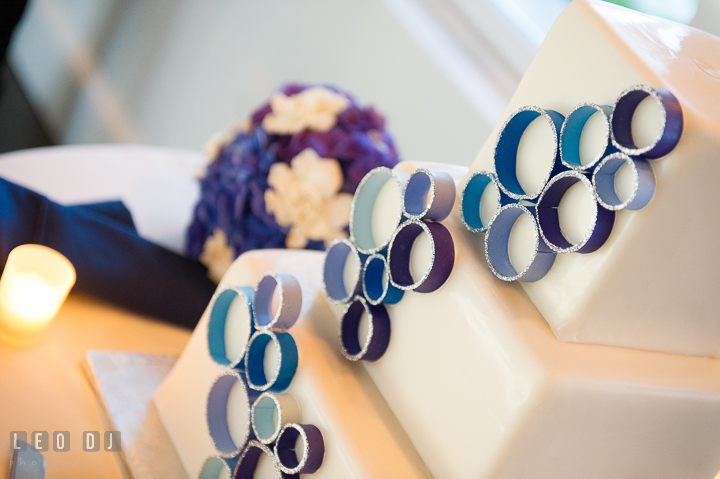 Decoration detail of wedding cake by Sugar Bakers. Kent Island Maryland Chesapeake Bay Beach Club wedding reception party photo, by wedding photographers of Leo Dj Photography. http://leodjphoto.com