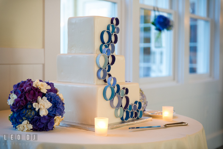 Three tier wedding cake by Sugar Bakers. Kent Island Maryland Chesapeake Bay Beach Club wedding reception party photo, by wedding photographers of Leo Dj Photography. http://leodjphoto.com