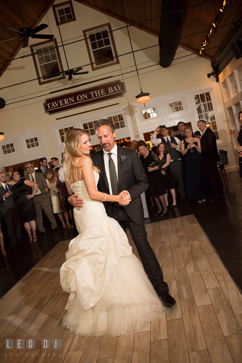 Father of Bride dancing with daughter. Kent Island Maryland Chesapeake Bay Beach Club wedding reception party photo, by wedding photographers of Leo Dj Photography. http://leodjphoto.com