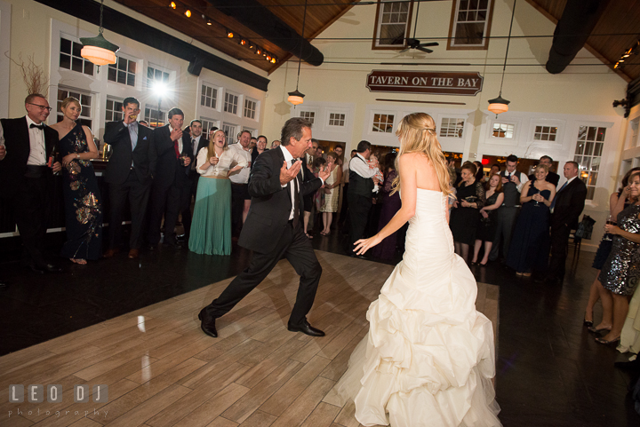Father of Bride invites everyone to join Father daughter dance. Kent Island Maryland Chesapeake Bay Beach Club wedding reception party photo, by wedding photographers of Leo Dj Photography. http://leodjphoto.com