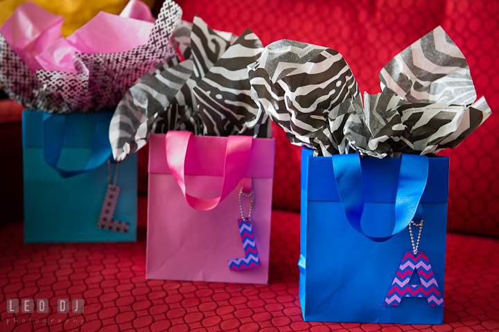 Gift bags from Bride for Matron of Honor and Bridesmaids. Getting ready wedding photos at Baltimore Marriott Waterfront by photographers of Leo Dj Photography. http://leodjphoto.com