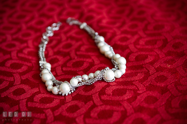 Pearl necklace for Bride. Getting ready wedding photos at Baltimore Marriott Waterfront by photographers of Leo Dj Photography. http://leodjphoto.com