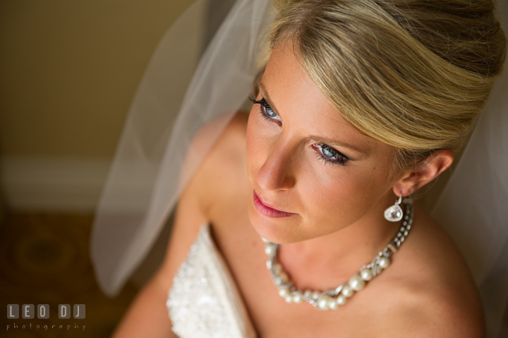 Make up beauty shot of Bride. Getting ready wedding photos at Baltimore Marriott Waterfront by photographers of Leo Dj Photography. http://leodjphoto.com