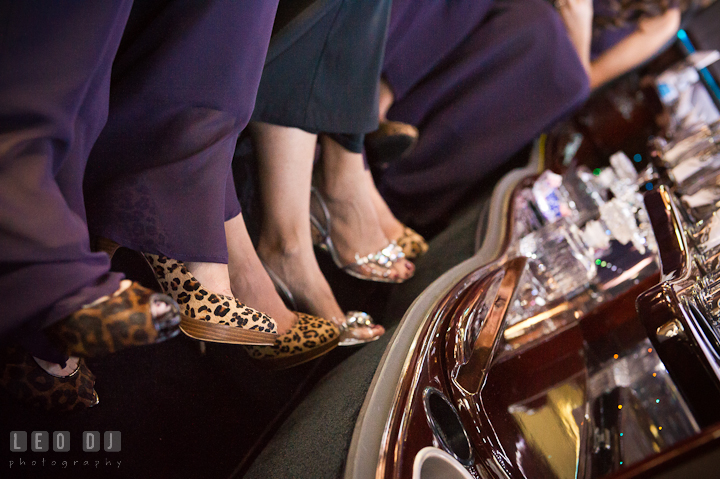 Leopard print shoes of Matron of Honor and Bridesmaids. Getting ready wedding photos at Baltimore Marriott Waterfront by photographers of Leo Dj Photography. http://leodjphoto.com