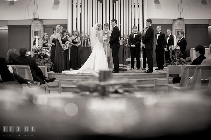 Bride and Groom reciting their vows. Ceremony wedding photos at Sacred Heart Church, Glyndon, Maryland by photographers of Leo Dj Photography. http://leodjphoto.com