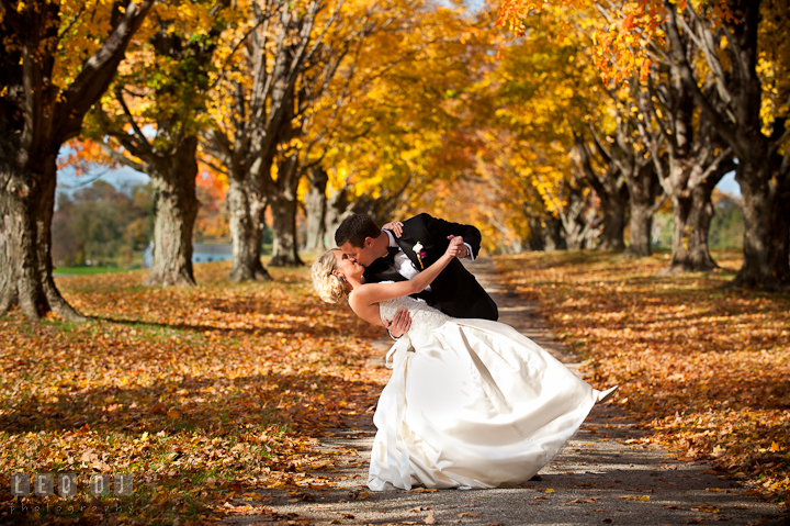Bride and Groom doing the dip and kissing in between row of fall foliage colored trees. Getting ready wedding photos at Baltimore Marriott Waterfront by photographers of Leo Dj Photography. http://leodjphoto.com