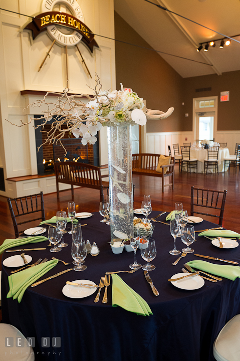 Table setup with tall centerpiece at the Beach House ballroom. Chesapeake Bay Beach Club wedding bridal testing photos by photographers of Leo Dj Photography. http://leodjphoto.com