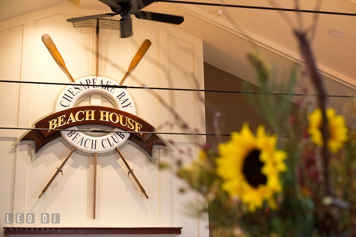Beach house ballroom with logo. Chesapeake Bay Beach Club wedding bridal testing photos by photographers of Leo Dj Photography. http://leodjphoto.com