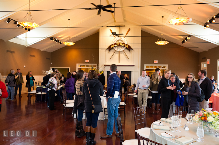 Brides and Grooms to-be and other guests viewing the decorations inside the Beach House ballroom by Intrige Design and Decor. Chesapeake Bay Beach Club wedding bridal testing photos by photographers of Leo Dj Photography. http://leodjphoto.com