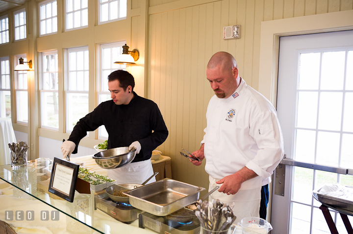 Chef and sous chef preparing oyster hor d'oeuvres for cocktail hour finger food. Chesapeake Bay Beach Club wedding bridal testing photos by photographers of Leo Dj Photography. http://leodjphoto.com