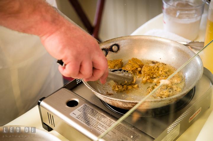 Chef frying oysters. Chesapeake Bay Beach Club wedding bridal testing photos by photographers of Leo Dj Photography. http://leodjphoto.com