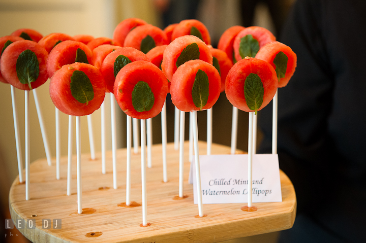 Chilled mint and watermellon lollipops hor d'oeuvres. Chesapeake Bay Beach Club wedding bridal testing photos by photographers of Leo Dj Photography. http://leodjphoto.com