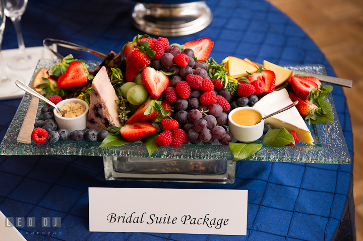 Fruits, crackers and cheese for Bridal Suite Package. Chesapeake Bay Beach Club wedding bridal testing photos by photographers of Leo Dj Photography. http://leodjphoto.com
