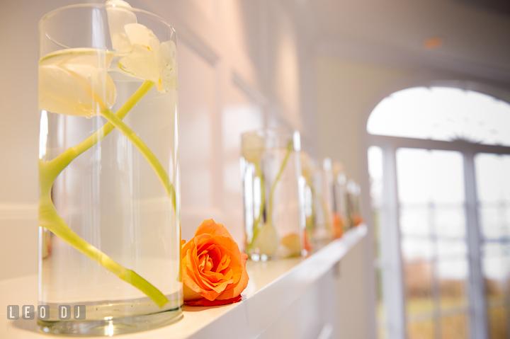 White tulips and orange roses decoration by Intrige Design and Decor. Chesapeake Bay Beach Club wedding bridal testing photos by photographers of Leo Dj Photography. http://leodjphoto.com
