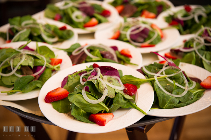 Salad appetizers with spinach and strawberry. Chesapeake Bay Beach Club wedding bridal testing photos by photographers of Leo Dj Photography. http://leodjphoto.com