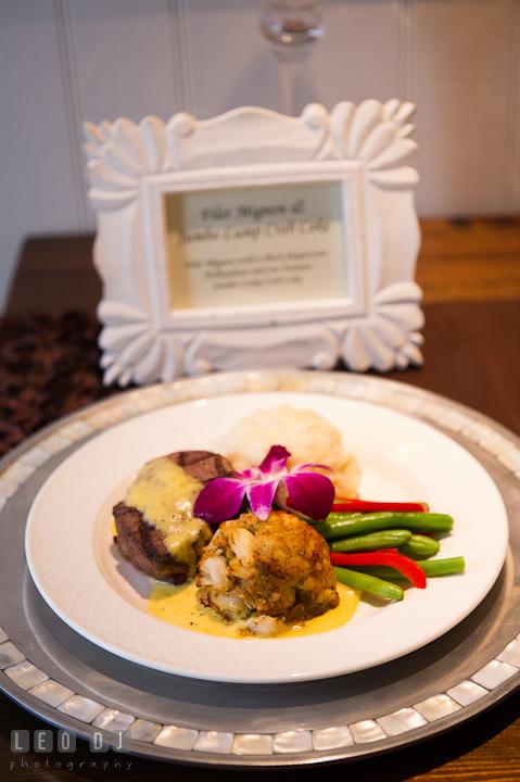 Crab cake, beef steak, mashed potato, red bell pepper and green beans dinner. Chesapeake Bay Beach Club wedding bridal testing photos by photographers of Leo Dj Photography. http://leodjphoto.com