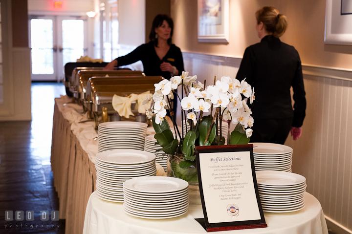 Buffet selections for dinner. Chesapeake Bay Beach Club wedding bridal testing photos by photographers of Leo Dj Photography. http://leodjphoto.com
