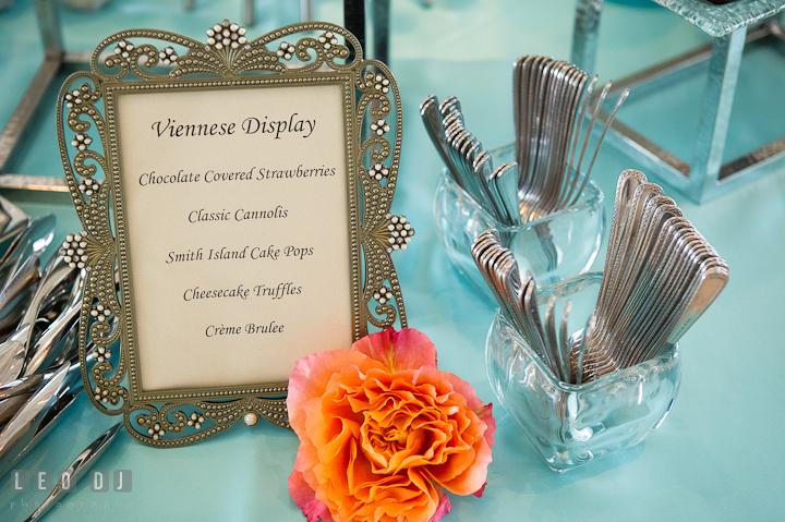 Dessert sampler table menu display. Chesapeake Bay Beach Club wedding bridal testing photos by photographers of Leo Dj Photography. http://leodjphoto.com