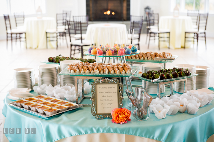 Table with variety of desert including créme brulee, cheesecake truffles, and classic cannoli. Chesapeake Bay Beach Club wedding bridal testing photos by photographers of Leo Dj Photography. http://leodjphoto.com