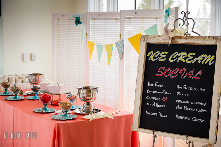 Ice cream table with various toppings with hot fudge and hot butterscotch. Chesapeake Bay Beach Club wedding bridal testing photos by photographers of Leo Dj Photography. http://leodjphoto.com